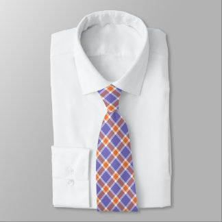 Blue, Orange & White Plaid Men's Tie