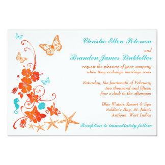 "Blue, Orange, White Tropical Beach Wedding Invite 5"" X 7"" Invitation Card"