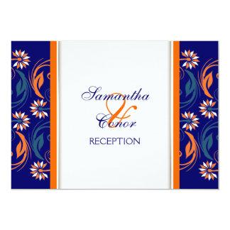 Blue orange white wedding anniversary 13 cm x 18 cm invitation card