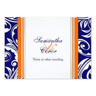 Blue orange white wedding engagement 13 cm x 18 cm invitation card
