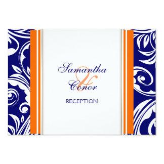 Blue orange white wedding engagement personalized invitation