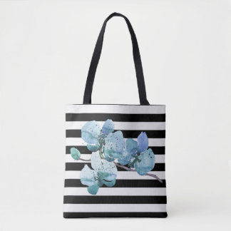 Blue Orchid Black and White Stripe Tote Bag