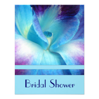 Blue Orchid Bridal Shower Invitation