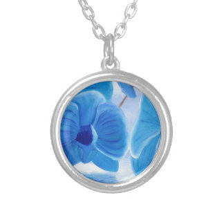 Blue Orchid elegant classy sophisticated joy Silver Plated Necklace