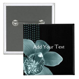 Blue Orchid on Black 15 Cm Square Badge