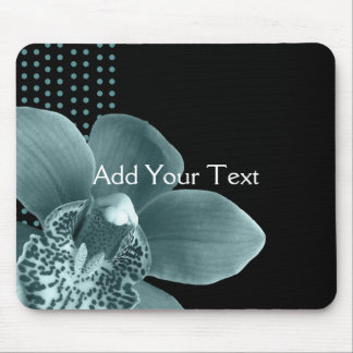 Blue Orchid on Black Mouse Pad