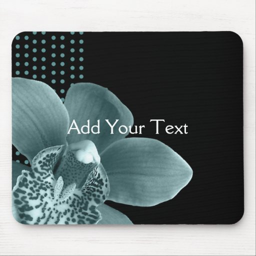 Blue Orchid on Black Mouse Pads