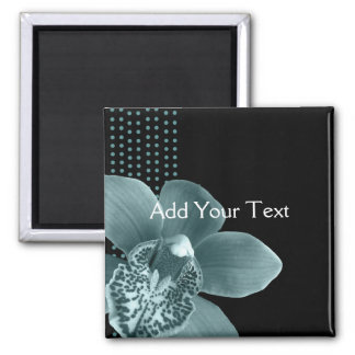 Blue Orchid on Black Square Magnet