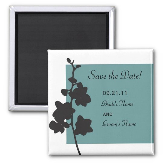 Blue Orchid Save the Date Square Magnet