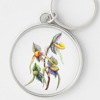 Blue orchids  painting Silver-Colored round key ring