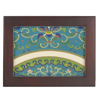 Blue Oriental Designs with Smiling Faces Keepsake Box