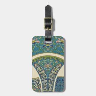 Blue Oriental Designs with Smiling Faces Luggage Tag