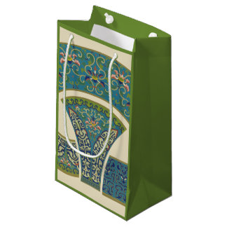 Blue Oriental Designs with Smiling Faces Small Gift Bag
