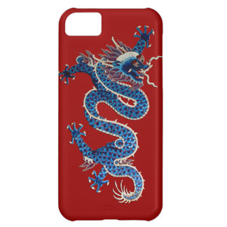 Blue oriental dragon antique Chinese embroidery iPhone 5C Case