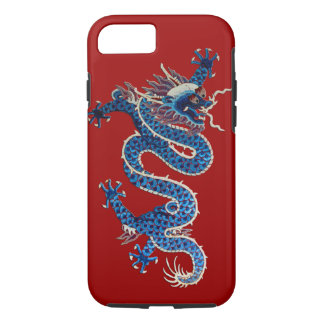 Blue oriental dragon antique Chinese embroidery iPhone 8/7 Case