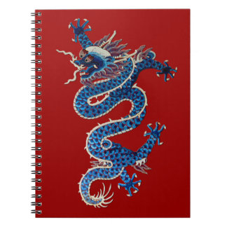Blue oriental dragon antique Chinese embroidery Notebooks