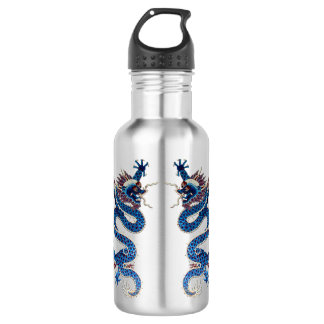 Blue oriental dragons antique Chinese embroidery 532 Ml Water Bottle