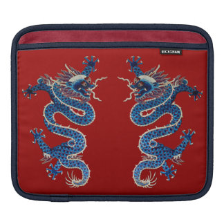 Blue oriental dragons antique Chinese embroidery iPad Sleeve