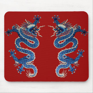 Blue oriental dragons antique Chinese embroidery Mouse Pad