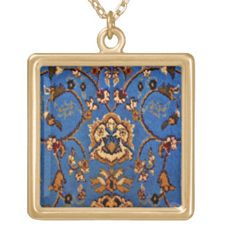 Blue Oriental Rug Gold Plated Necklace