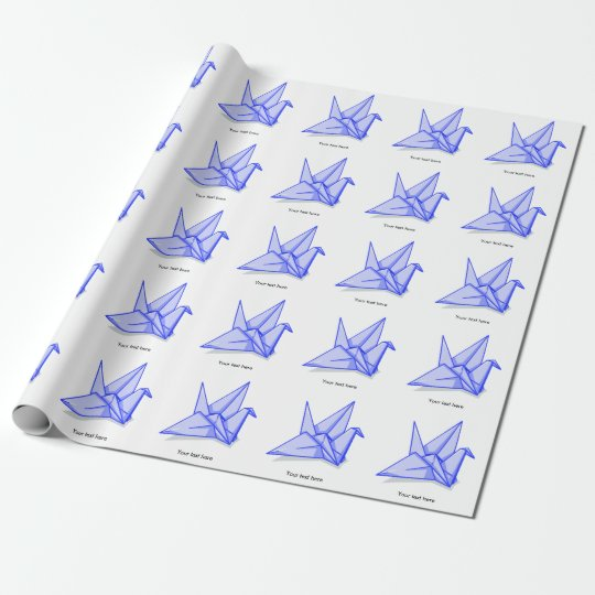 Blue origami crane wrapping paper