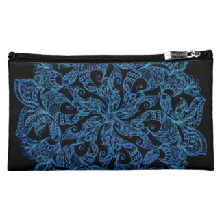 Blue, ornamental, ethnic pattern, makeup bag