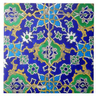 Blue Ornamental Mosaic Pattern Large Square Tile