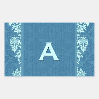 Blue Ornate Damask Swirls Monogram Wedding V02 Rectangular Sticker