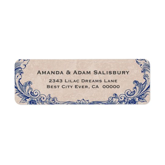 Blue Ornate Frame Vintage Wedding Thank You Return Address Label