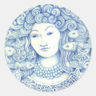 Blue Oshun Classic Round Sticker