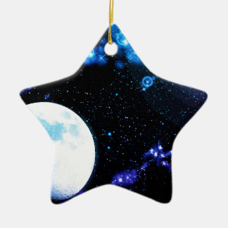 Blue Outer Space Ceramic Star Decoration