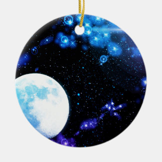 Blue Outer Space Round Ceramic Decoration