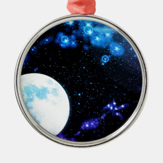 Blue Outer Space Silver-Colored Round Decoration