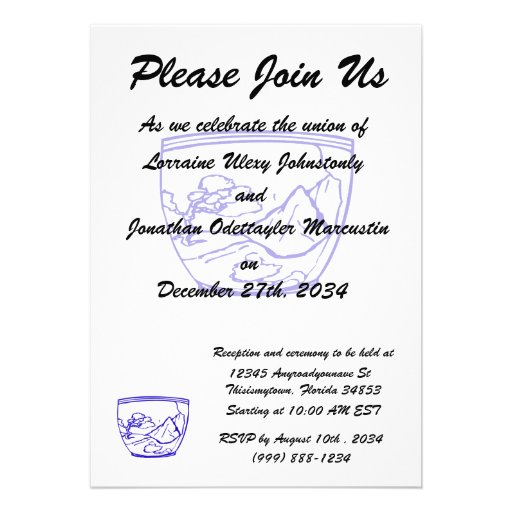blue outline pot with bonsai and mountain custom invitation