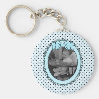 Blue Oval Frame - Customizable with Your Picture Basic Round Button Key Ring