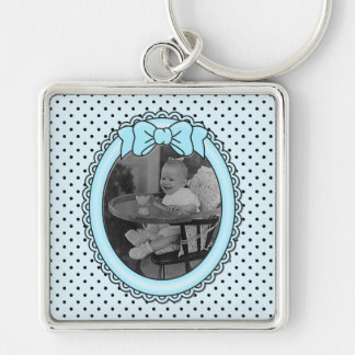 Blue Oval Frame - Customizable with Your Picture Silver-Colored Square Key Ring
