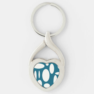 Blue Oval Geo Heart Silver-Colored Twisted Heart Key Ring
