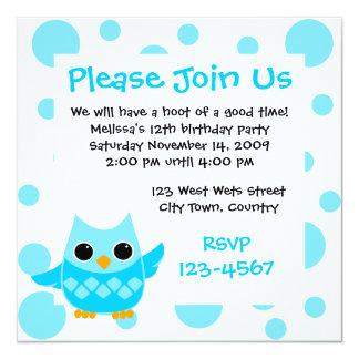 Blue Owl 13 Cm X 13 Cm Square Invitation Card