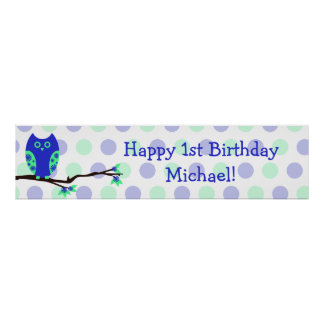 Blue Owl 1st Birthday Personalized Sign Poster