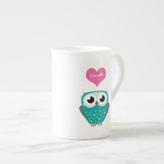 Blue Owl and Love Heart Personalizable Name Mug Tea Cup