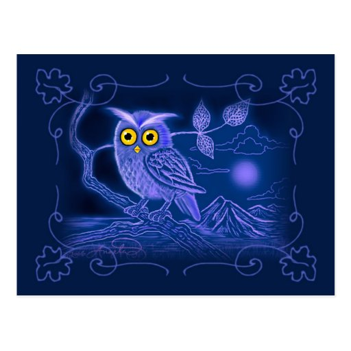 Blue Owl Art Postcard