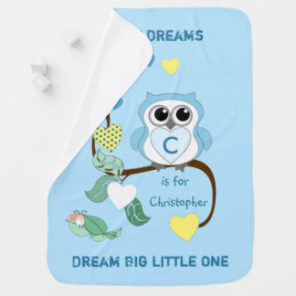 Blue Owl Baby Blanket Dream Big Little One