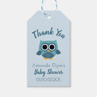 Blue Owl Baby Shower / Birthday Tags - Favor Tags