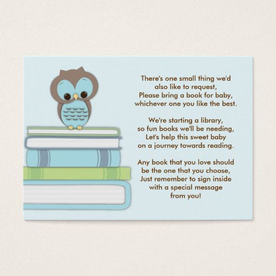 Blue Owl Baby Shower Book Insert Request Card
