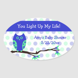 Blue Owl Baby Shower Candle Jar Favor Tags Stickers