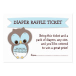 Blue Owl Baby Shower Diaper Raffle Ticket Insert Pack Of Chubby Business Cards