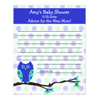 Blue Owl Baby Shower Personalized Advice Cards 11.5 Cm X 14 Cm Flyer