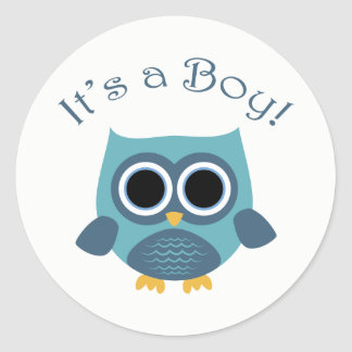 Blue Owl Baby Shower Stickers - It's a Boy!