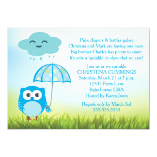 Blue Owl Baby Sprinkle Invitation