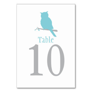 Blue owl bird wedding or occassion table number table card